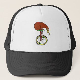 Little Brown Kiwi On A Red Unicycle Trucker Hat