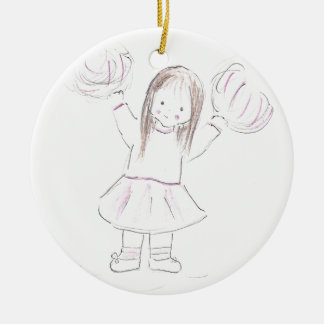 Little Brunnette Cheerleader Girl Christmas Ornament