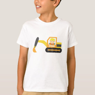 Little Builder Boy Excavator Construction Vehicle T-Shirt