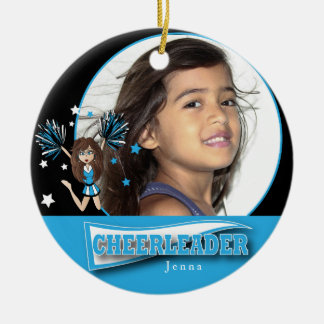 Little Cheerleader - DIY Photo -  Baby Blue Christmas Ornament