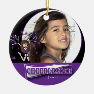 Little Cheerleader - DIY Photo -  Purple Christmas Ornament
