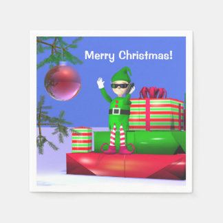 Little Christmas Elf Standing on Gifts Disposable Serviette