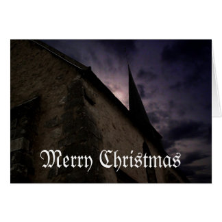 Little country church Merry Christmas card
