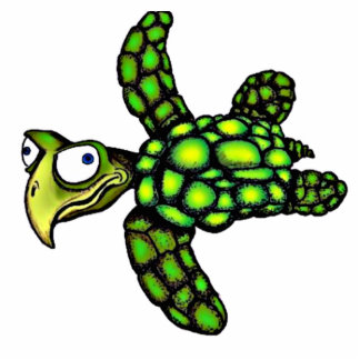 """""""Little Dave"""" Turtle, Fish with Attitude Photo Sculpture Badge"""