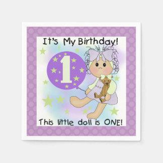 Little Doll Girl 1st Birthday Paper Napkins Disposable Serviette