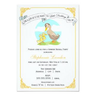 Little Ducklings   Twin Gender Reveal Baby Shower 13 Cm X 18 Cm Invitation Card