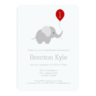 Little Elephant with Balloon Birthday Invitation