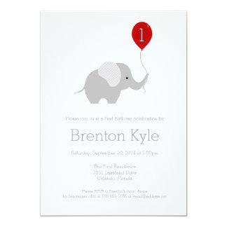 "Little Elephant with Balloon Birthday Invitation 2 5"" X 7"" Invitation Card"