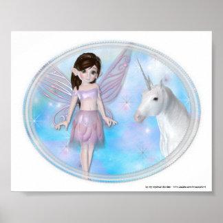 Little Fairy w/Unicorn Fantasy Poster/Print Poster