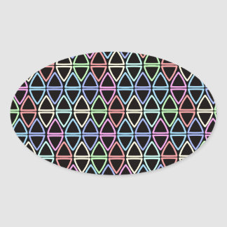 Little Geometric Triangles Pattern Oval Sticker