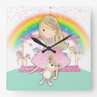Little Girl And Teddy Bear, Square Wall Clock