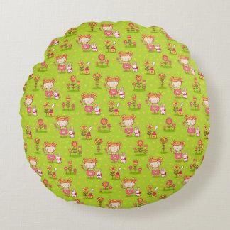 Little Girl Bunny Garden Cotton Adorable Pillow