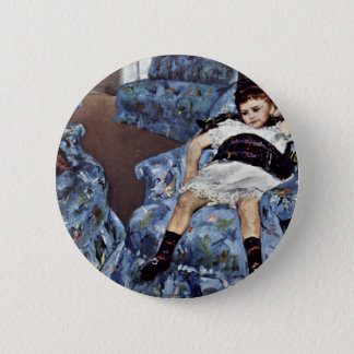 Little Girl In Blue Armchair By Cassatt Mary (Best 6 Cm Round Badge