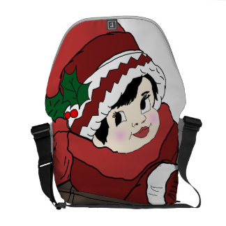 little girl in red and sleigh commuter bags
