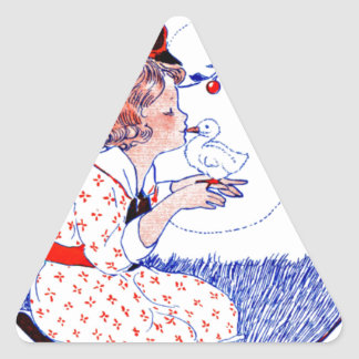 Little girl kissing a baby chick or duck triangle sticker