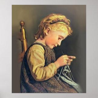 Little Girl Knitting Poster