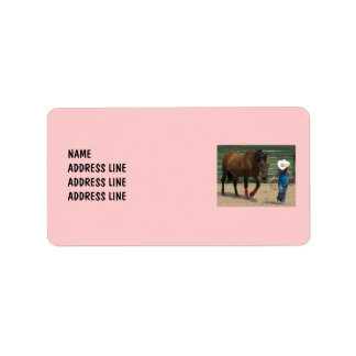 Little Girl Leads Tennessee Walking Horse Western Address Label