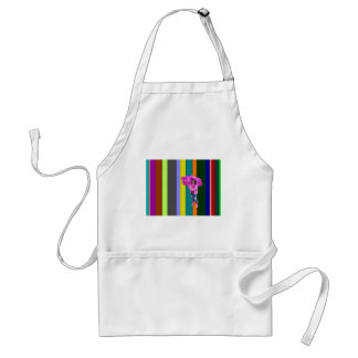 Little girl-rainbow stripes background apron