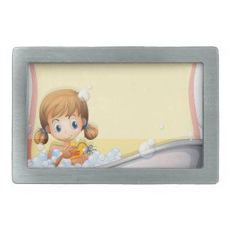 Little girl taking a bath rectangular belt buckles