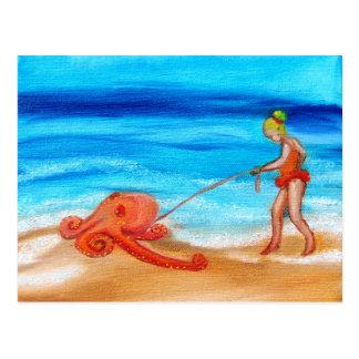 Little girl walks her pet octopus Ralph Postcard