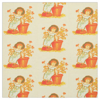 Little Girl with Flowers Pattern Fabric