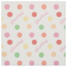 Little Girls Custom Name Polka Dot Pastel Fabric