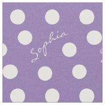 Little Girls Custom Name Purple Polka Dot Fabric