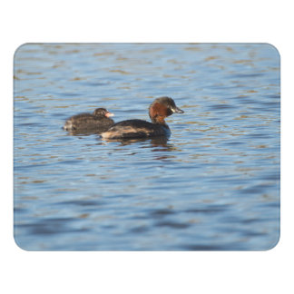 Little Grebe and Chick Door Sign