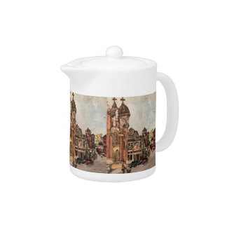 Little Italy, Cleveland Painting on Small Teapot