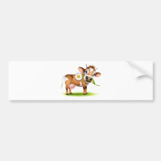 Little Jersey cow eating daisy Bumper Sticker