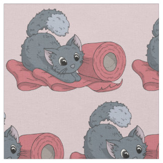 Little Kitten on Ribbon Fabric