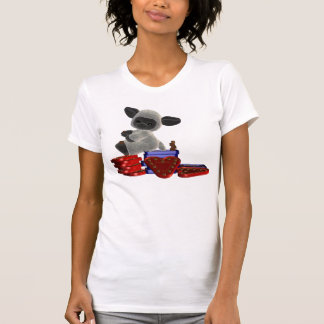 Little lamb sitting on boxes of chocolates tee shirts