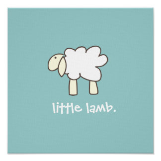 Little Lamb wall print (cool blue)