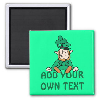 Little Leprechaun - Add Your Own Text Square Magnet