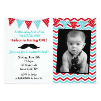 Little Man Mustache Birthday Party Invitations