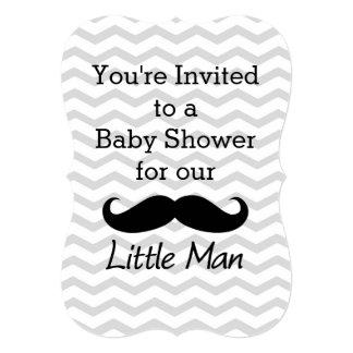 Little Man Mustache Chevron Cute Boys Baby Shower 5x7 Paper Invitation ...