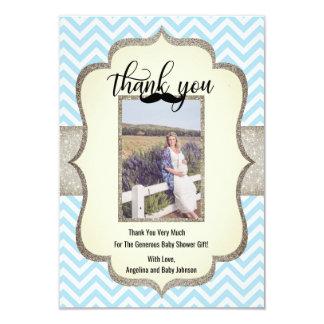 Little Man | Mustache Theme THANK YOU Baby Shower Card