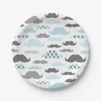Little Man Mustaches Pattern Blue Paper Plate