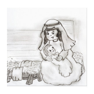 Little Mary and Baby Jesus sketch Canvas Print