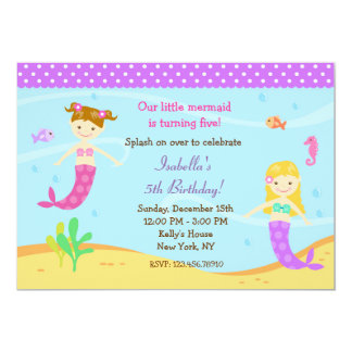 Little Mermaid Birthday Party Invitations