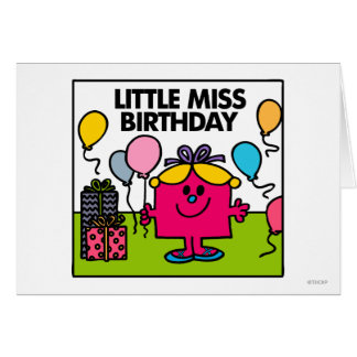 Little Miss Birthday   Presents & Balloons Greeting Card