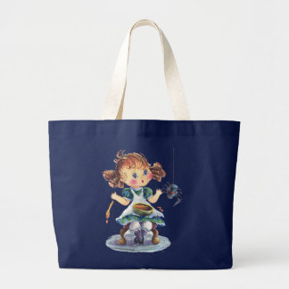 LITTLE MISS MUFFET by SHARON SHARPE Large Tote Bag