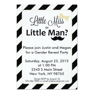 Little Miss or Little Man Gender Reveal Invitation