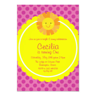 Little Miss Sunshine Sun Invitation Polka Dot