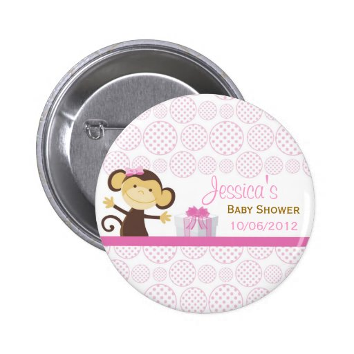 Little Monkey Baby Shower Pinback Button
