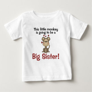 Little Monkey Hearts Big Sister Baby T-Shirt