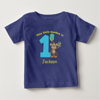 Little Monkey Kids 1st Birthday CUSTOM Baby T-Shirt