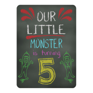 Little Monster Birthday Invitation 5 years old