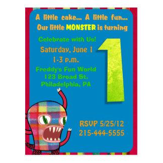 Little Monster First 1st Birthday Invitation Postcards