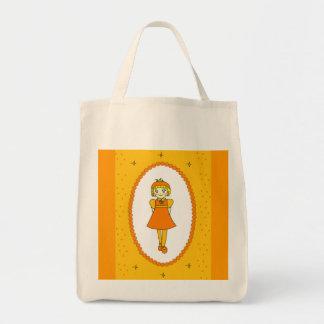 Little Orange Fruit Girl Tote Bags
